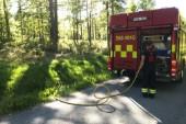 Räddningstjänsten kallas till skogsbrand