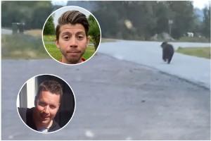 """Rickard och Markus mötte björn mitt inne i bostadsområde i Luleå – se film på mötet: """"Vad fan händer?!"""""""