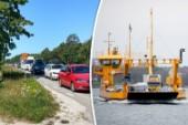 Flera timmar lång kö till Fåröfärjan – sträcker sig förbi 90-skylten