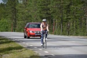 Line cyklade drygt 8 mil till Arvidsjaur