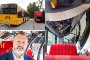 """Linjebussar i krock – Passagerare: """"Ersättningsbussen var ännu söndrigare"""""""