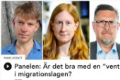 """PM Nilsson, Susanne Nyström och Olov Abrahamsson diskuterade migrationspolitiken och en del annat i P1:s veckomagasin """"God morgon, världen!""""."""