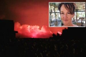 """Veronica från Strängnäs tvingas evakuera under Rhodos-branden: """"Jätteoroliga"""""""