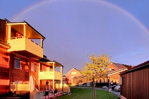 Regnbåge över hustaken