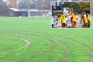 Föreningens fotbollsplan söndersladdad - polisanmälan
