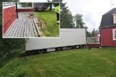 Änglavakt när lastbilssläp rammade altan