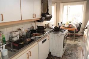 Glömd mat orsakade omfattande köksbrand