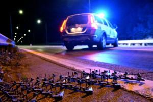 Biljakt genom Sörmland – polis la ut spikmatta och prejade flyende bilist