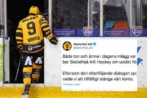 """Hamnade i blåsväder – Skellefteå AIK stängde tillfälligt twitterkontot: """"Vi beklagar"""""""